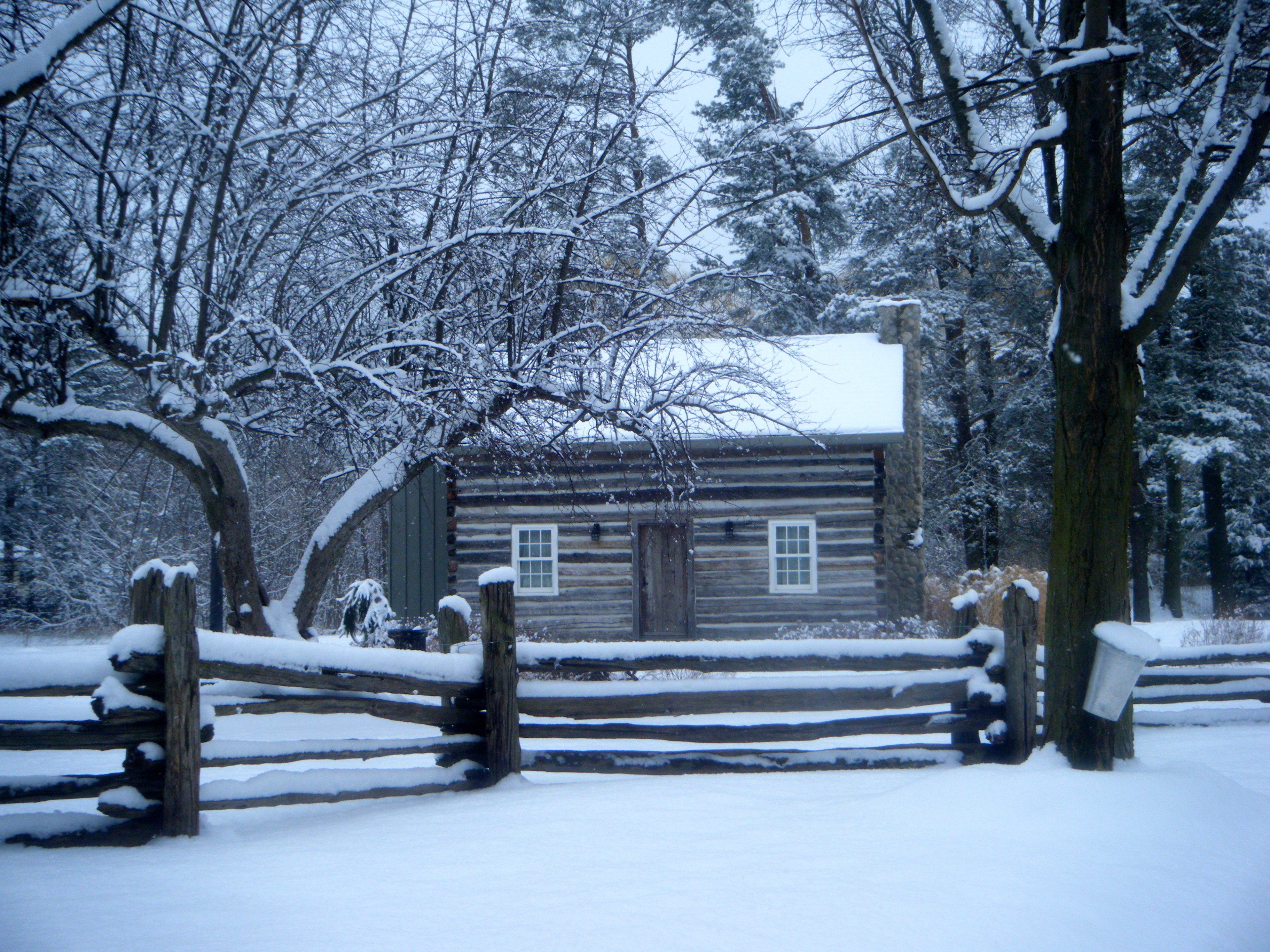 Log cabin in the woods winter - Log Cabin At Bradley House Museum Port Credit