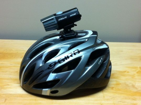 Giro helmet with Cygolight Expilion 250
